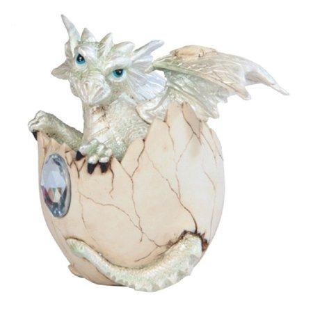 Baby Silver Dragon in Egg with Gem Fantasy Figurine April Birthstone Diamond New ()