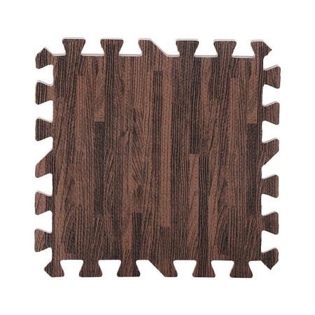 Home Floor Mats,9pcs 30*30cm Imitation Wood Soft Foam Exercise Floor Mats Gym Garage Home Kids Play Mats Pad (Deep Wood Grain) ()