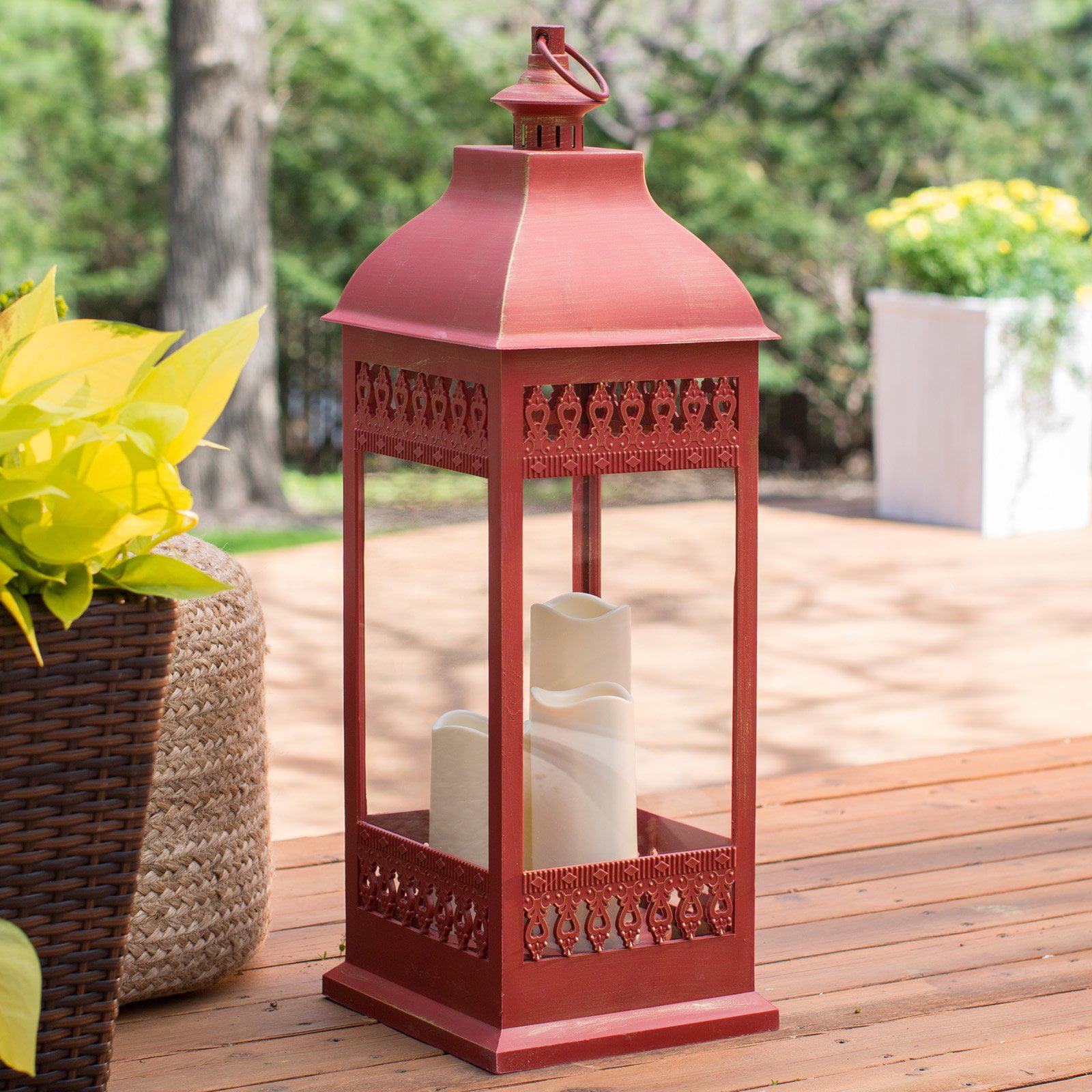 Smart Design San Nicola Lantern With LED Candles   Walmart.com