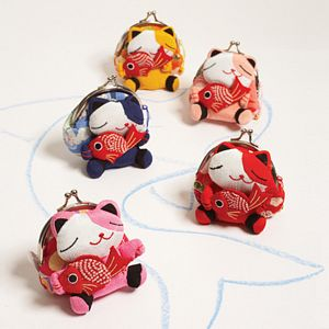 Kimono Fabric Cat Purse by Two's Company - 41398-20