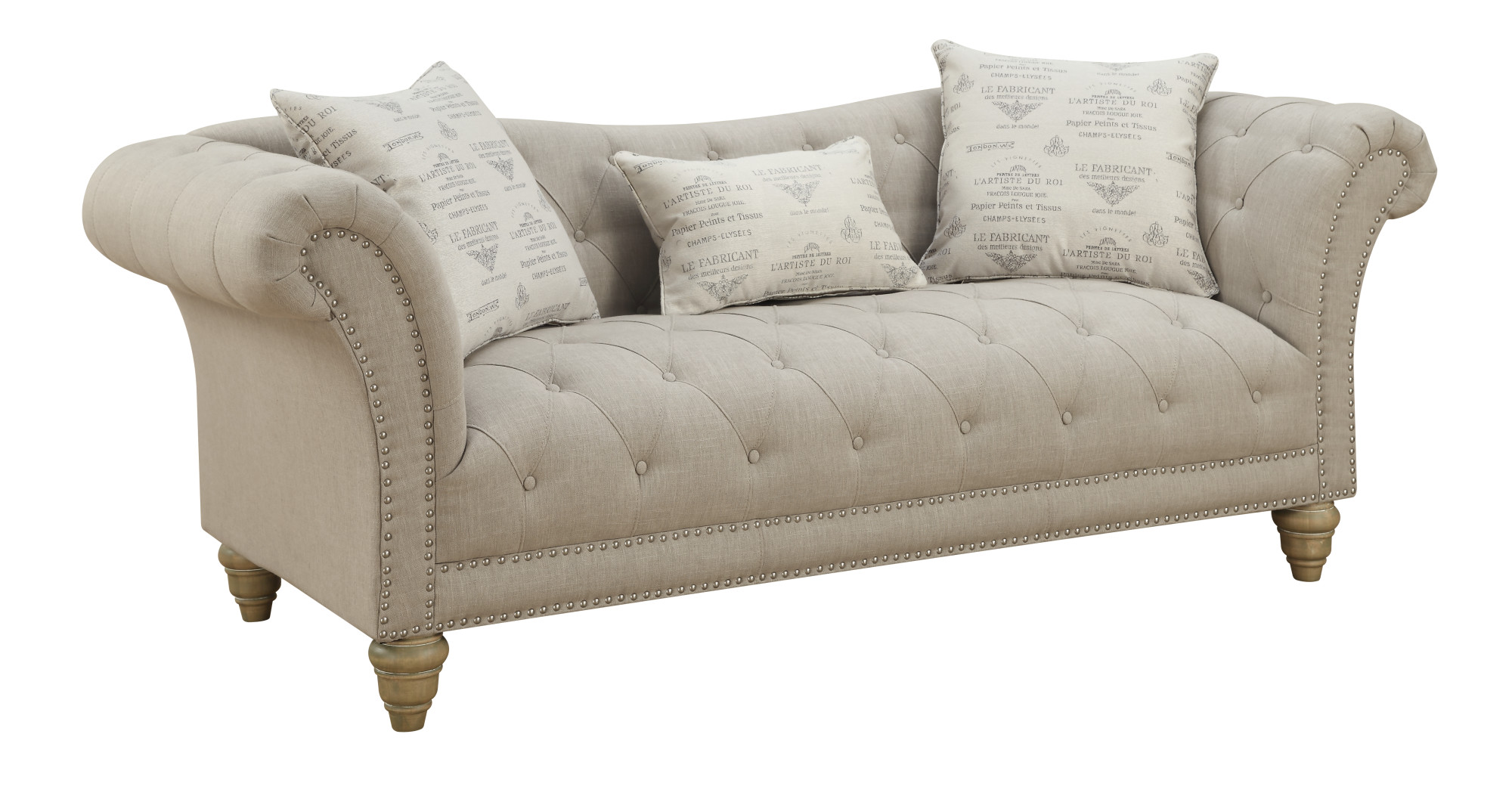 Emerald Home Hutton Ii Thunder Bella Gray 90 Sofa With Pillows On Tufting Nailhead Trim And Turned Legs