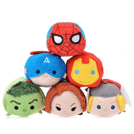 Disney Tsum Tsum Marvel Set of 6- Avengers Spiderman Mini 3.5