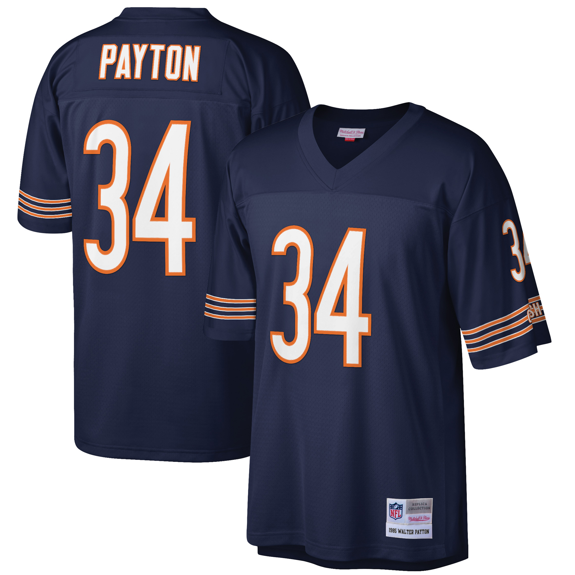 a73c3377 Mens Chicago Bears Walter Payton Mitchell & Ness Navy 1985 Retired Player  Vintage Replica Jersey - Walmart.com