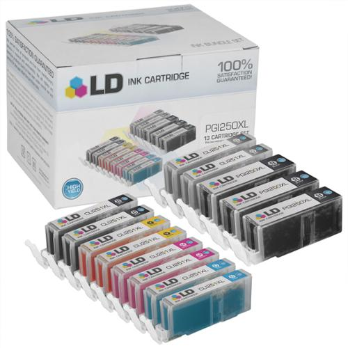 LD Canon Compatible PGI-250XL & CLI-251 Set of 13 HY Cartridges: 3 Pigment Black (PGI-250XL), 2 Black (CLI-251XL), Cyan (CLI-251XL), Magenta (CLI-251XL), Yellow (CLI-251XL), Gray (CLI-251XL)