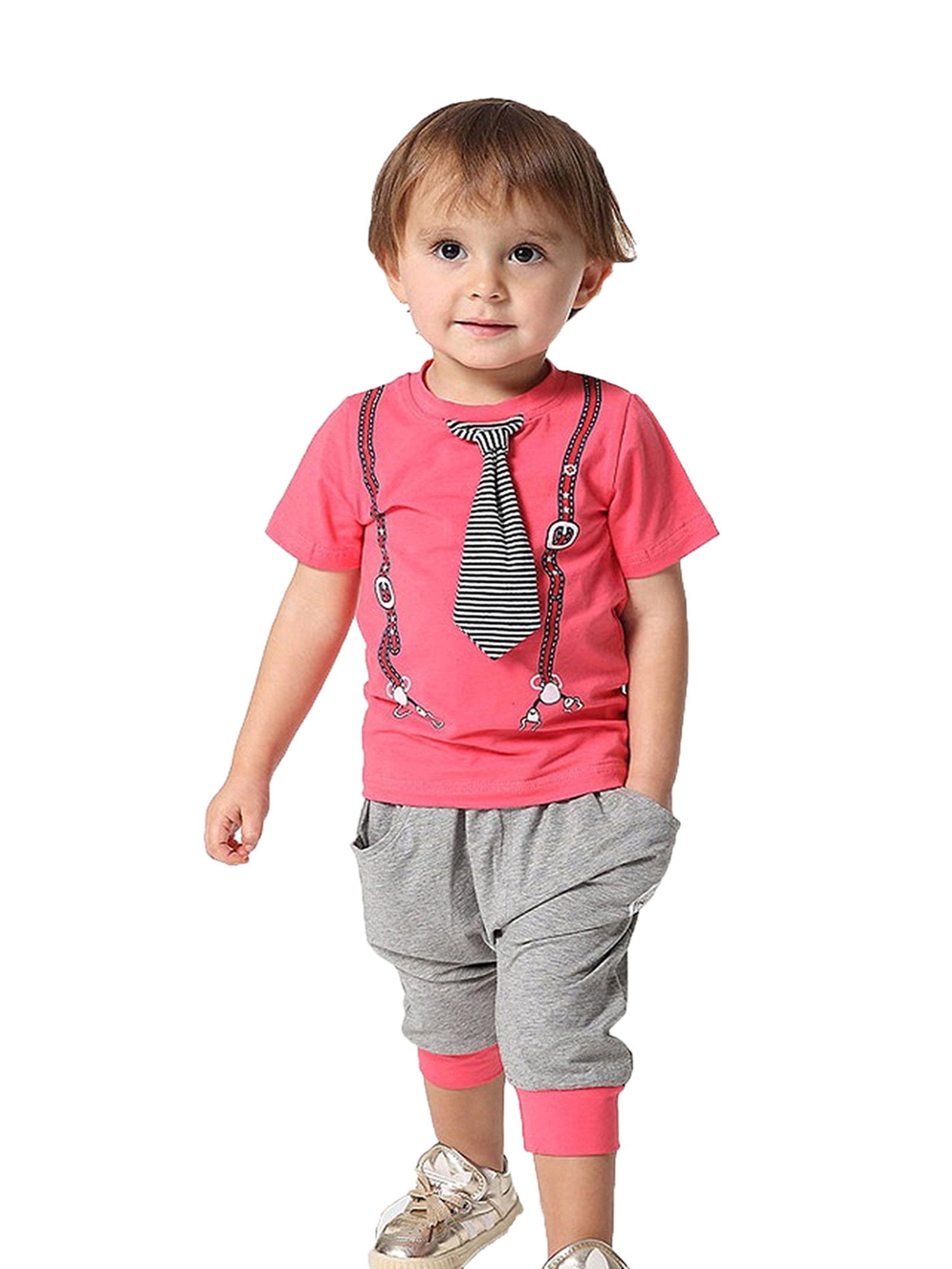 StylesILove Infant Toddler Kids Coral Tee With Printed Suspender And 3D Tie (110/2-3 Years)