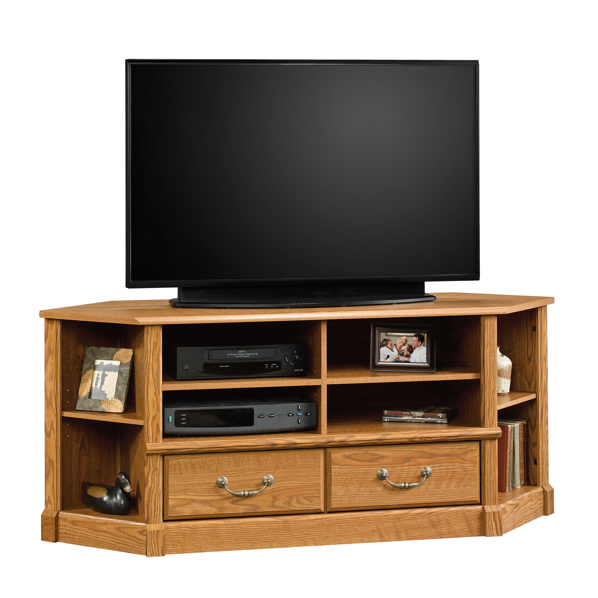 "Sauder Orchard Hills Corner Entertainment Credenza for TVs up to 50"", Carolina Oak Finish"