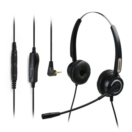 Binaural Headset Noise Canceling Microphone - AGPtek Hands-free 2.5mm Binaural Telephone Headset w/ Noise Canceling Mic + 3.5MM QD + Volume Mute Black
