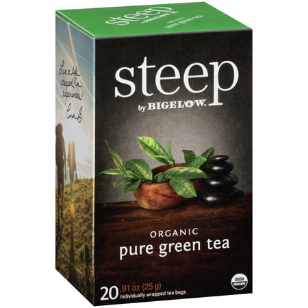 (3 Boxes) Steep, Organic Pure Green Tea, Tea Bags, 20