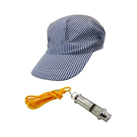 Train Conductor Striped Hat & Train Whistle Noisemaker Fun Costume Accessory Set](Oregon Trail Costume)