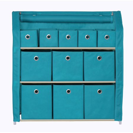 Home-Like 11-Drawer Storage Unit Multi-Bin Toy Organizer DIY Storage Cabinet Multi-Purpose Storage Chest Metal Shelf with Removable Fabric Bins Ideal for Home Office Bedroom (11-Drawer-Turquoise) ()