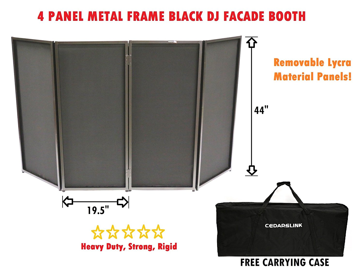 CedarsLink DJ Event Facade Black Scrim Metal Frame Booth + Travel Bag Case 14LB by