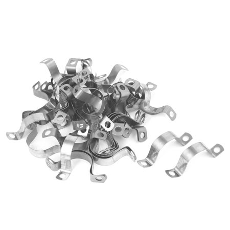 25mm 1-inch Arch High Stainless Steel Pipe Strap Clamp Clip Silver Tone 50pcs