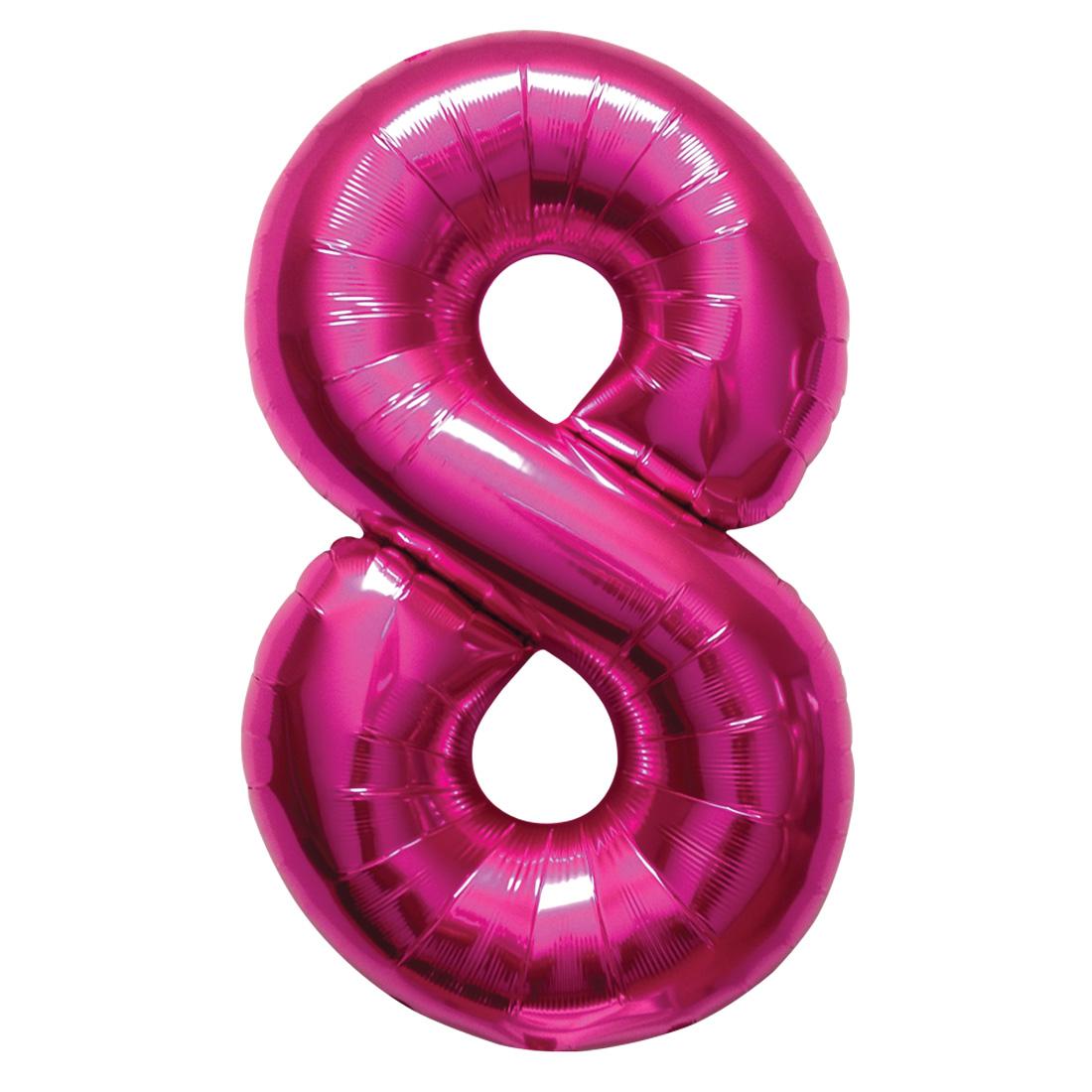 "Northstar Number 8 Eight Shape Solid Jumbo Helium 34"" Foil Balloon, Magenta"