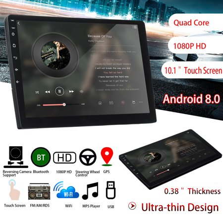 Car Stereo Double Din 10.1'' for Android 8.0 WIFI GPS Nav Navigation Quad Core Radio Video MP5 Player Car Multimedia (Best Double Din Radio)