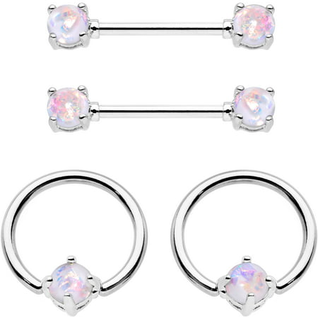 Body Candy Steel Iridescent White Accent Captive Ring Barbell Nipple Ring Set 14 Gauge 1/2