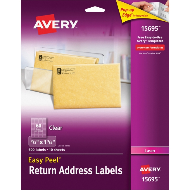 "Avery Matte Clear Easy Peel Address Labels - Permanent Adhesive - 0.67"" Width x 1.75"" Length - 60 / Sheet - Rectangle - Laser, Inkjet - Clear - 600 / Pack"