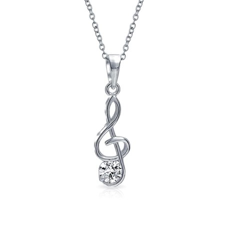 Music Student Teacher CZ Accent Treble Clef Note Pendant Necklace For Teen For Women 925 Sterling Silver With Chain