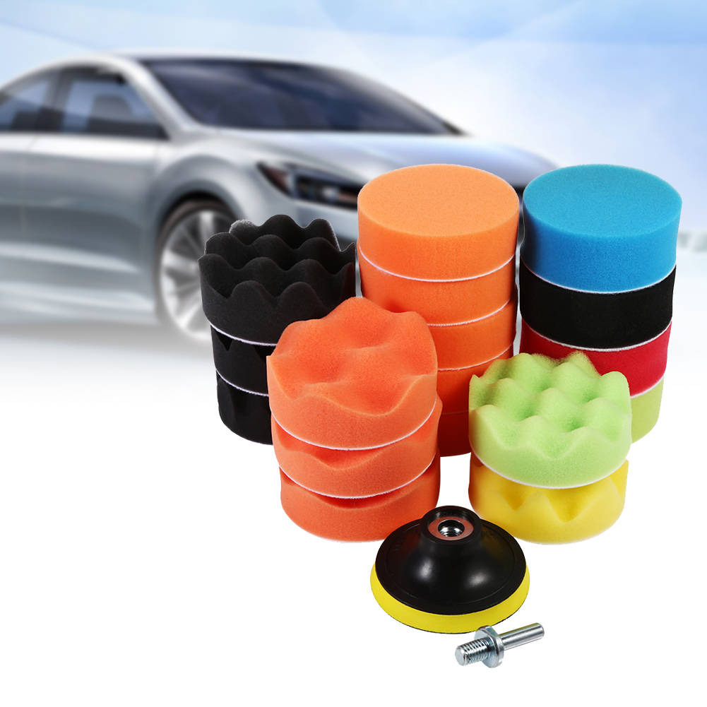 HURRISE 19 Pcs 3  Sponge Buff Polishing Pad Set For Car Polisher & Waxing(M10 Drill Adapter), Car Polisher, Buffing Polishing Pad