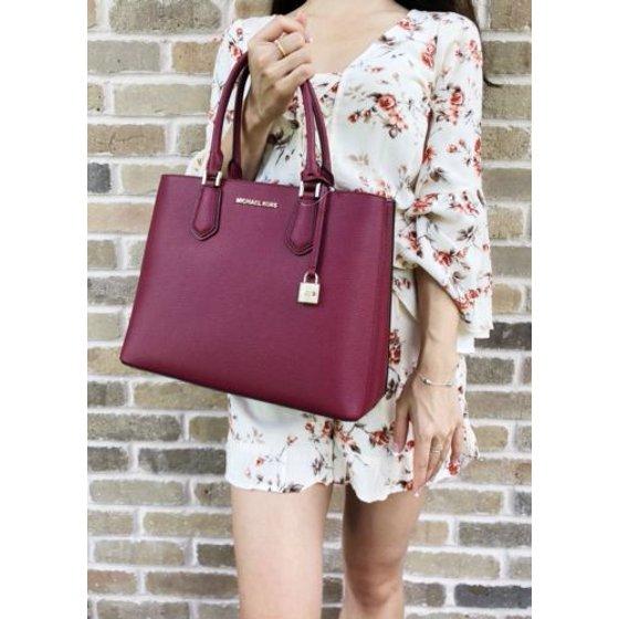 ecd9298edf30 Michael Kors Adele Mercer Large Satchel Bag Mulberry Burgundy Ballet Pink -  Walmart.com