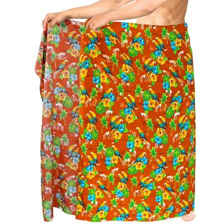 HAPPY BAY Swimsuit Bathing Men Sarong Hawaiian Cover ups Beach Wrap Orange