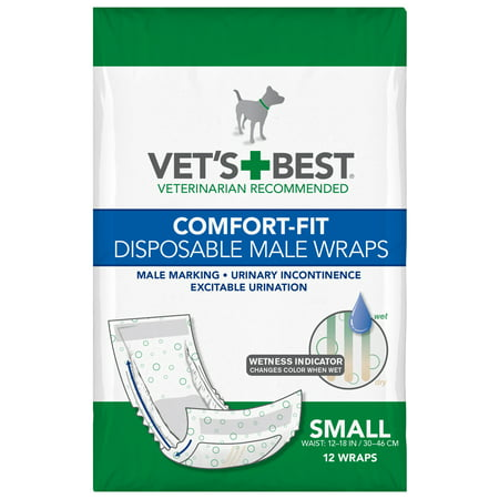 Vet's Best Comfort Fit Disposable Male Dog Diapers | Absorbent Male Wraps with Leak Proof Fit | Small, 12