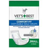 (Choose Size) Vets Best Comfort Fit Disposable Male Dog Diapers, 12 Count