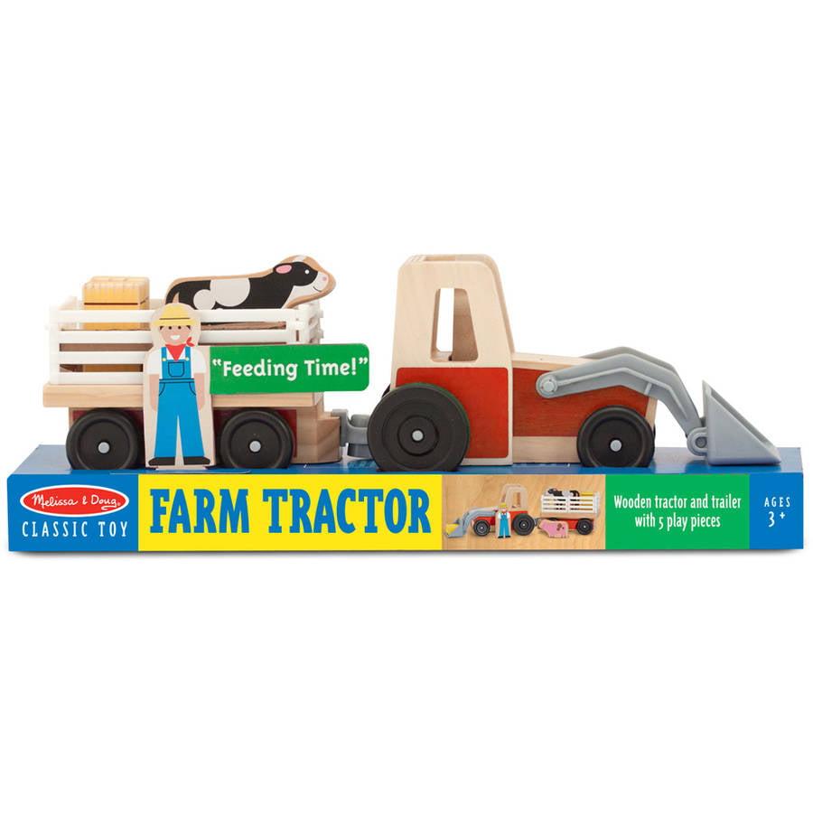 Melissa & Doug Farm Tractor Wooden Vehicle Play Set (5 pcs) by Melissa %26 Doug
