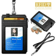 "Badge Holder with Zipper, ELV PU Leather ID Badge Card Holder Wallet with 5 Card Slots, 1 Side RFID Blocking Zipper Pocket and 20"" Neck Lanyard [Black]"