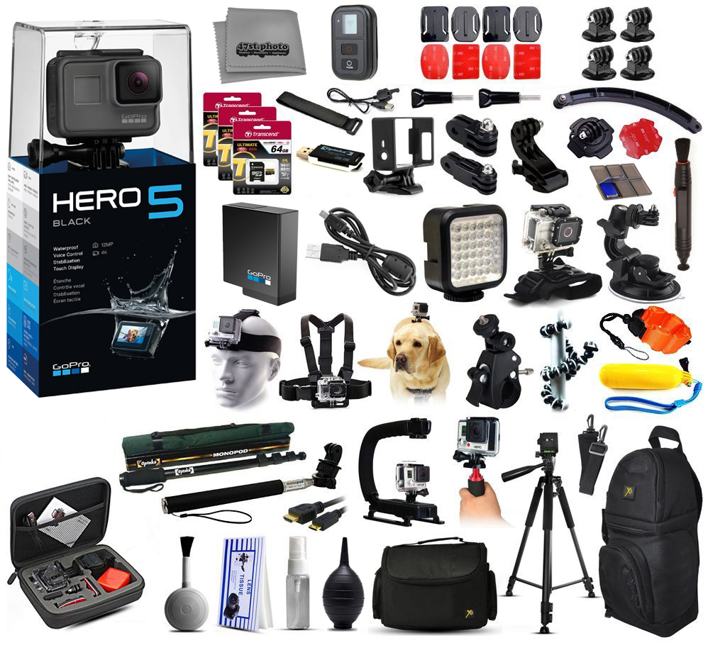 Buy GoPro HERO5 Hero 5 4K Action Camera Black Edition + 4Yr Accident Protection + 192GB + Large Everything You Need Kit by GoPro