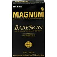3 Pack - TROJAN Magnum Bareskin Lubricated Large Size Condoms 10 ea