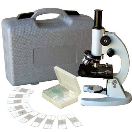 AmScope 40X-640X Metal Body Glass Lens Student Microscope with ABS Case & 25pc Specimens