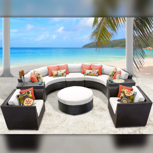 TK Classics Barbados Wicker 8 Piece Patio Conversation Set with Round Coffee Table and 2... by TK Classics
