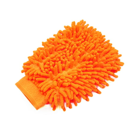 Body Glove Cap (Orange Microfiber Chenille Washing Cleaning Glove Mitten for Car Vehicle Body )