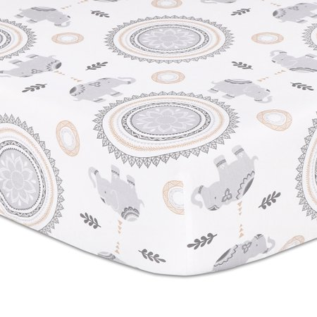 Boho Grey Elephant and Medallion Fitted Crib Sheet by The Peanutshell ()