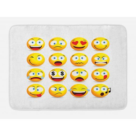 Emoji Bath Mat, Smiley Faces Collection with Circular Shapes with Various  Emotions Singing Angry, Non-Slip Plush Mat Bathroom Kitchen Laundry Room