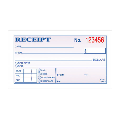 Adams 2 Part Carbonless Money/Rent Receipt Book