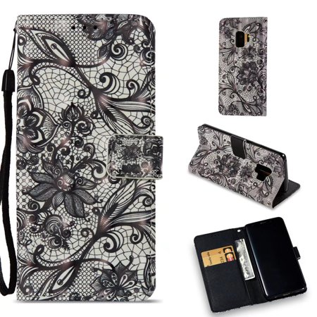 Dteck Wallet Case For Samsung Galaxy S9 Painted Leather Flip Stand Wristlet Card Holder Shockproof Cover, Black