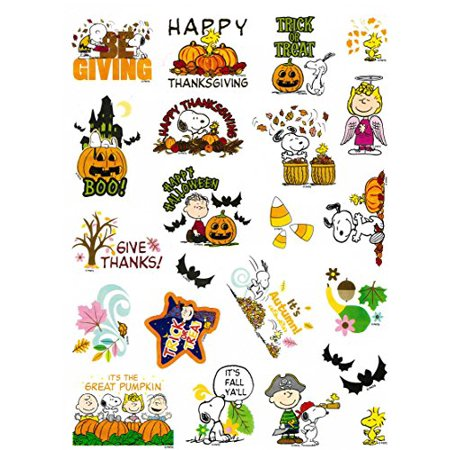 Peanuts Snoopy & Woodstock Thanksgiving, Autumn & Halloween Stickers, 22 Stickers (Peanuts Thanksgiving Special)