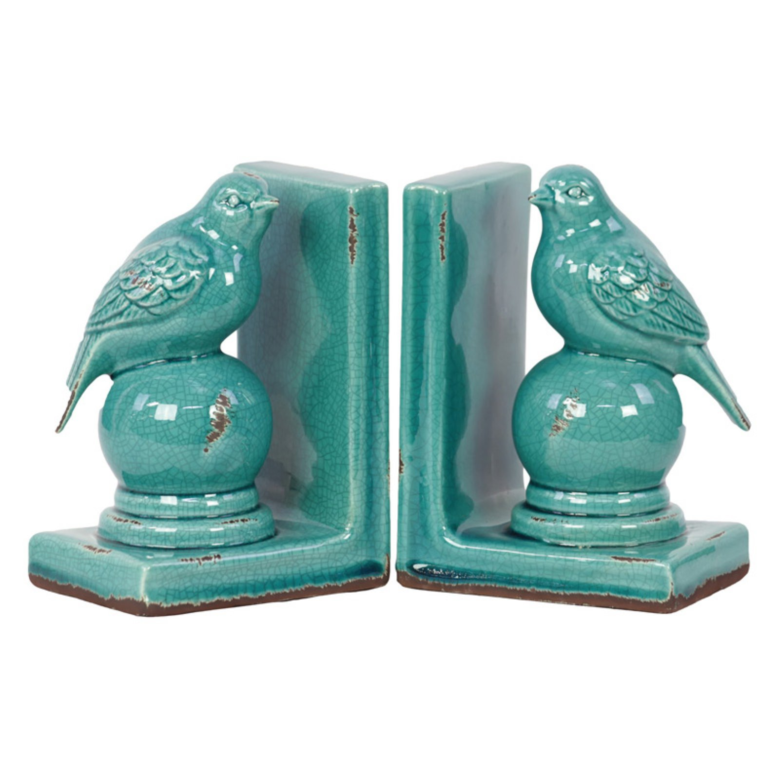 Urban Trends Collection: Stoneware Bird Bookend Gloss Distressed Finish