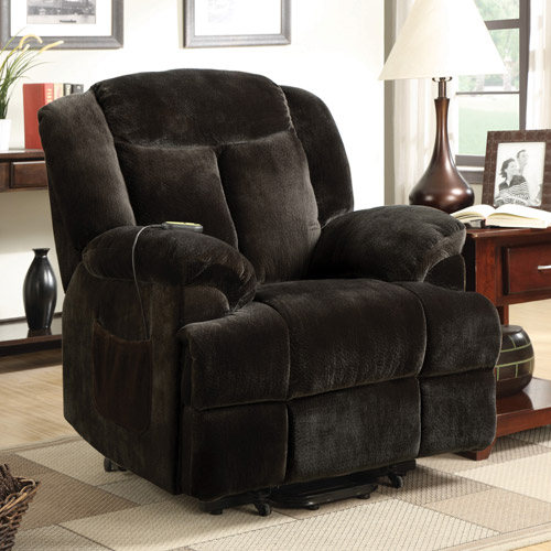 Click here to buy Coaster Padded Back Velvet Power Lift Recliner, Brown by Coaster Company.