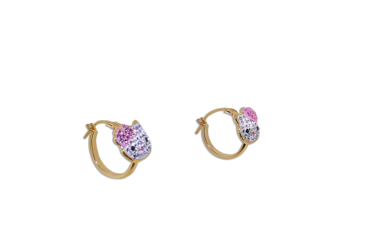 14K Yellow Gold Pink And White Cubic Zirconia Hello Kitty Hoop Earrings by MJ