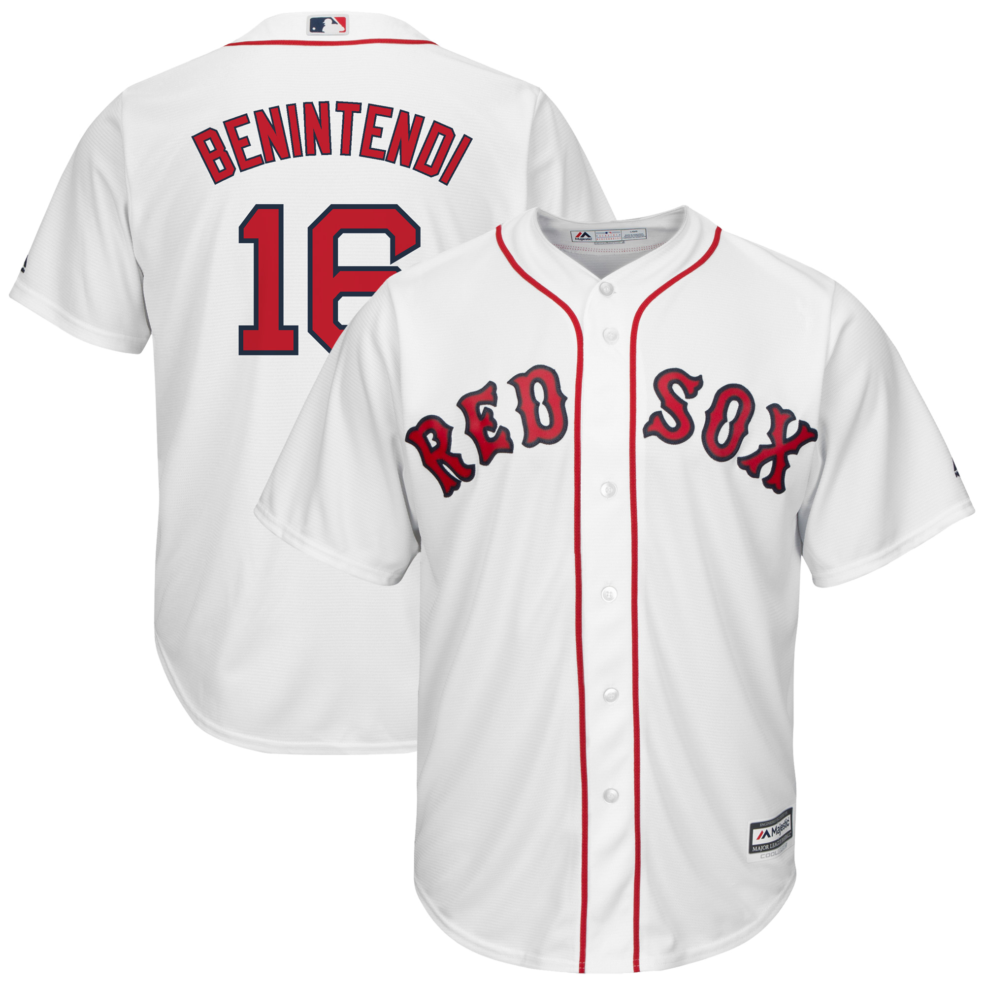 Andrew Benintendi Boston Red Sox Majestic Youth Home Official Cool Base Replica Player Jersey - White