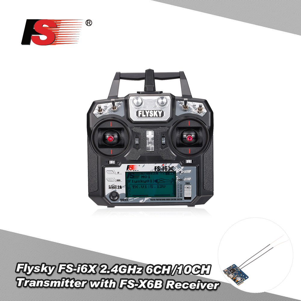 Goolsky Flysky FS-i6X RC Transmitter 2.4GHz 10CH AFHDS 2A with FS-iA10B Receiver for RC Drone Airplane Helicopter