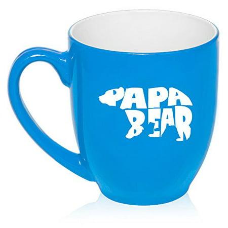 Dad Large Mug (16 oz Large Bistro Mug Ceramic Coffee Tea Glass Cup Dad Father Papa Bear (Light Blue))