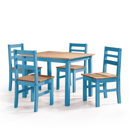 Maiden 5-Piece Solid Wood Dining Set with 1 Table and 4 Chairs in Blue