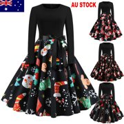 Womens Vintage Christmas Swing Ladies Long Sleeve Party Skater Dress