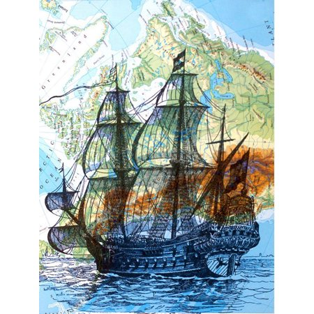 Art N Wordz Tall Blue Ship Original Atlas Sheet Pop Art Wall or Desk Art Print Poster