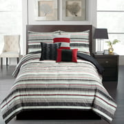 Mainstays 7-Piece Stripe Comforter Set