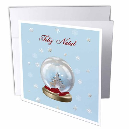 How Do You Say Merry Christmas In Portuguese.3drose Snow Globe Deer Tree And Snowflakes Merry Christmas In Brazilian Portuguese Greeting Card 6 X 6 Inches Single