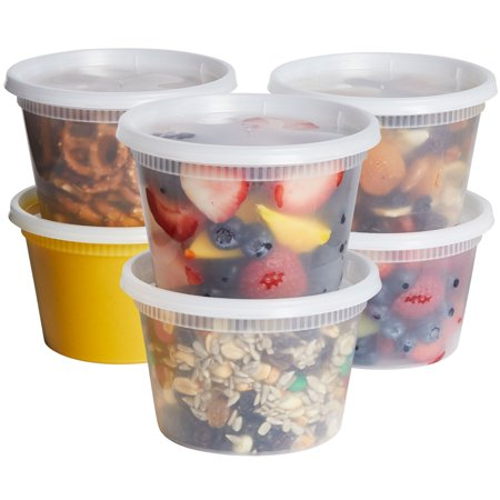 Comfy Package 16 oz. Plastic Deli Food Storage Containers with Airtight Lids [48 (16 Ounce Plastic Canisters)